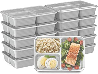Bentgo Prep 3-Compartment Meal-Prep Containers with Custom-Fit Lids - Microwaveable, Durable, Reusable, BPA-Free, Freezer ...