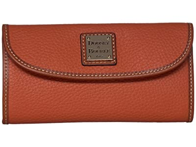 Dooney & Bourke Pebble Leather New SLGS Continental Clutch (Tangerine/Tan Trim) Clutch Handbags