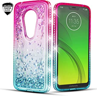 Moto G7 Play/Motorola G7 Optimo/T-Mobile Revvlry Case, 6goodeals with Full Screen Temper Glass Glitter Liquid Quicksand Bling Sparkle Flowing Shiny Diamond Girls Protective Phone Case (Teal)