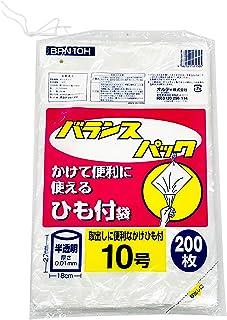 オルディ ポリ袋 規格袋 食品衛生法適合品 半透明 10号 横18×縦27cm 厚さ0.01mm 紐付き ビニール袋 BPN10H 200枚入