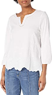 Lucky Brand Women's Long Sleeve V-Neck Scalloped Top
