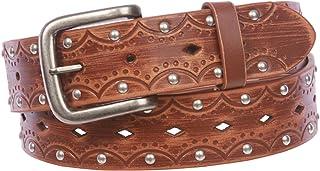 "1 1/2"" Snap on Perforated Vintage Embossed Studded Jean Belt"
