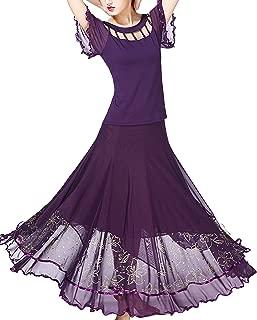 JEZISYMA Women's Long Smooth Standard Spanish Waltz Party Swing Ballroom Dance Skirt