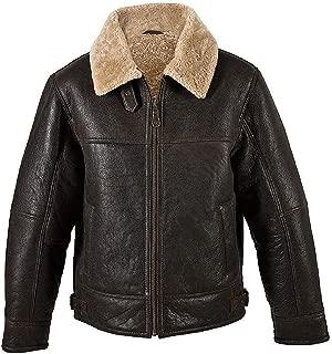 KAAZEE Men's B3 Brown Beige Fur Shearling Sheepskin Leather Jacket Bomber RAF NV-65