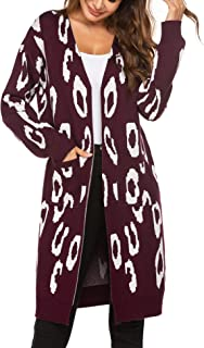 Chigant Women Leopard Long Sweater Cardigan Long Sleeve Open Front Maxi Sweaters Print Knitting Outwear Coats with Pockets