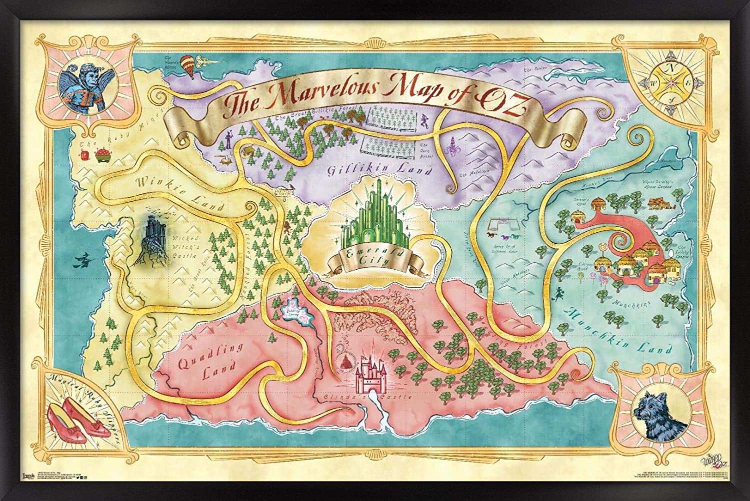Trends International Wizard of Oz-Map Fees free x Poster Wall 22. 14.725