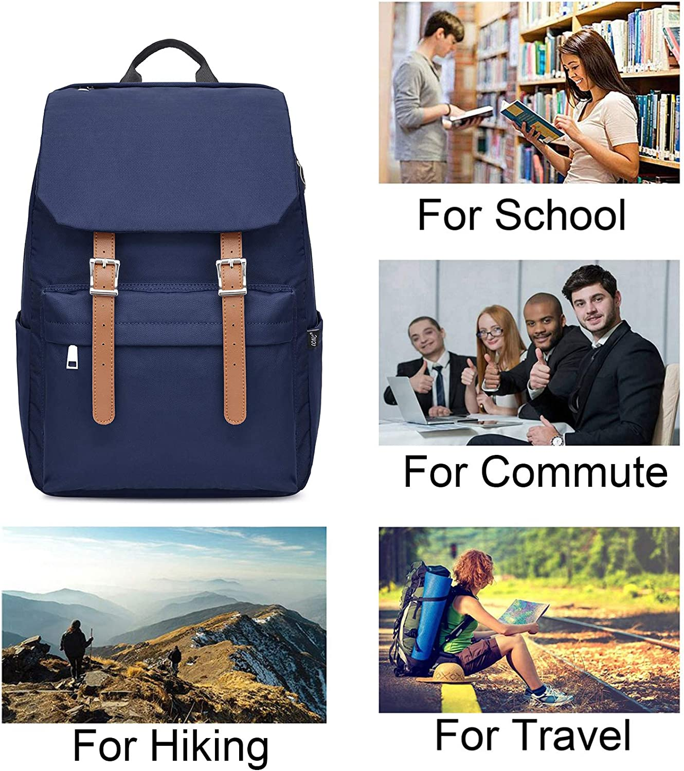 School Backpack,College Rucksack for Boys Girls Fits 14 inch Laptop,Water-Resistant Travel Casual Daypacks for Men Women
