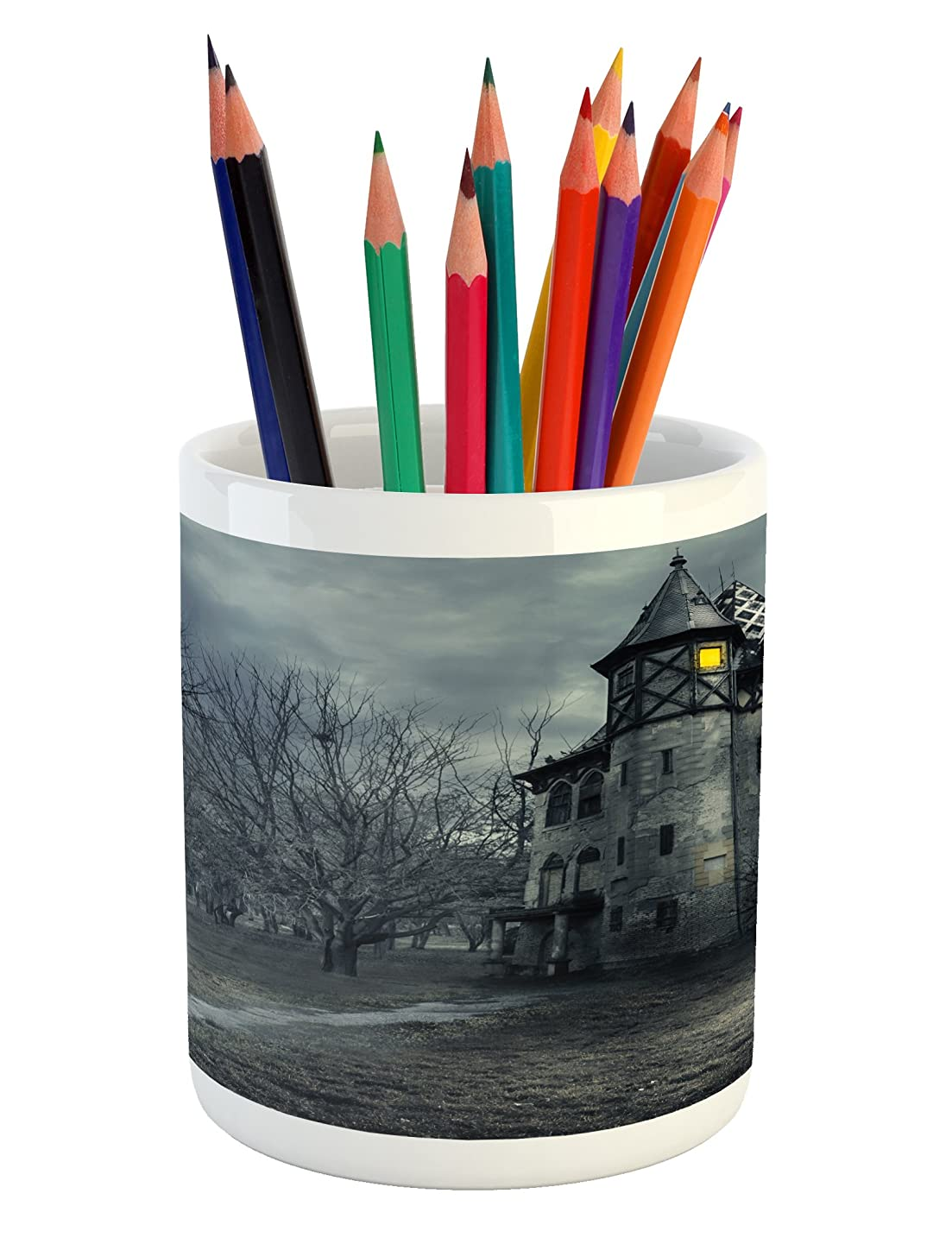 Ambesonne Halloween Pencil Pen Holder, Halloween Design with Gothic Haunted House Dark Sky and Leafless Trees Spooky Theme, Printed Ceramic Pencil Pen Holder for Desk Office Accessory, Teal