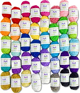 Mira Handcrafts 40 Assorted Colors Acrylic Yarn Skeins with 7 E-Books – Perfect for..