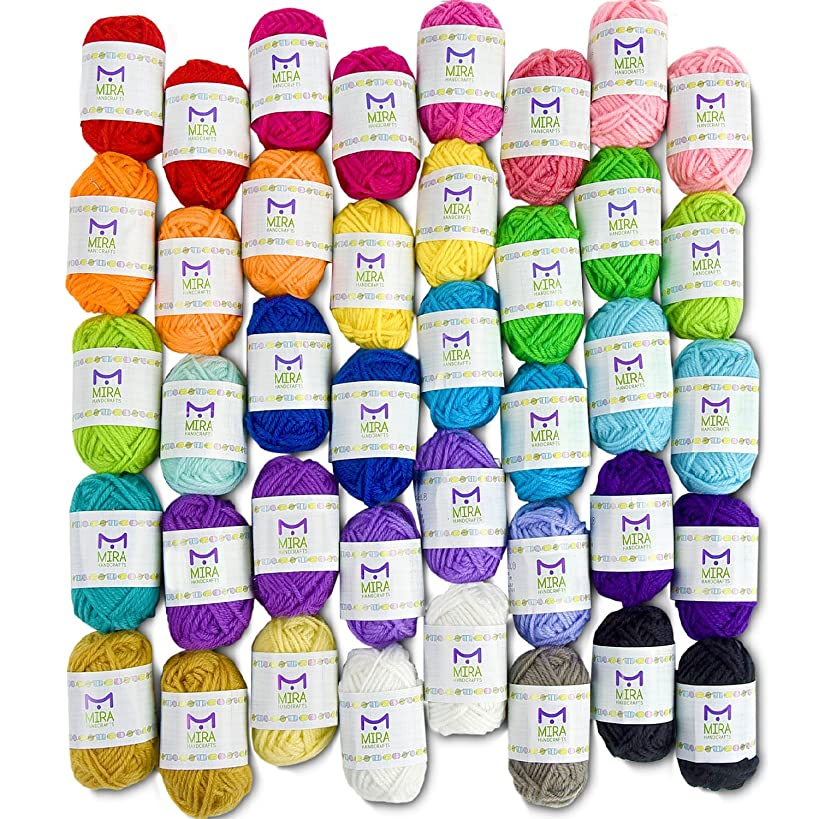 Mira Handcrafts 40 Assorted Colors Acrylic Yarn Skeins with 7 E-Books - Perfect for Any Knitting and Crochet Mini Project