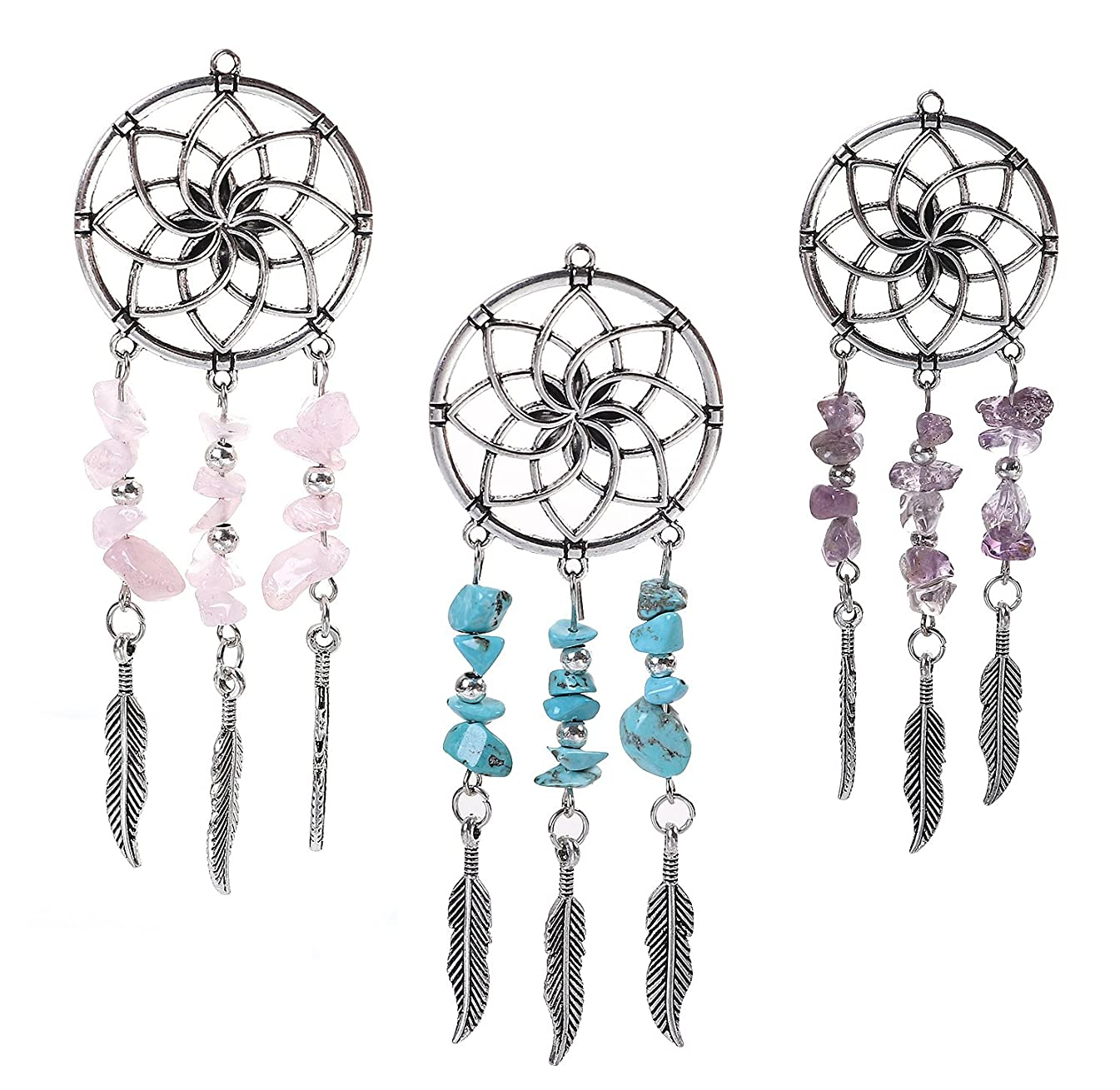 Dreamcatcher Pendants by JGFinds, 3 Pack - Pink, Green/Blue, Purple, Native American Inspired, 4 Inches Long