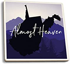 Lantern Press West Virginia - Almost Heaven - State Silhouette and Mountains (Set of 4 Ceramic Coasters - Cork-Backed, Absorbent)