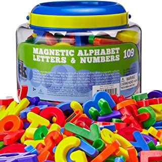 EduKid Toys ABC Magnets - 109 Magnetic Alphabet Letters & Numbers with Take Along Bucket