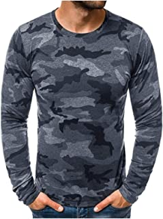 Comaba Men's Round Neck Camouflage T-Shirt Top Tunic Shirt Fit Shirts Tops