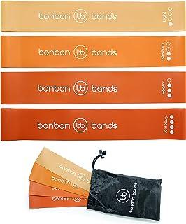 Exercise Bands Resistance Bands | Premium Bonbon Bands Set of 4 with Carry Bag | Glute Leg Strength Training Rehabilitatio...
