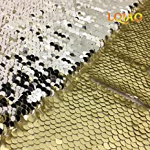 LQIAO Matte Gold Silver Sequin Fabric Pailletes Sparkly Shimmer Sequin Fabric Sequin Tablecloth, Sequin Photo Booth for Wedding/Dessert Decoration Dessert Decoration (0.5 Yard)