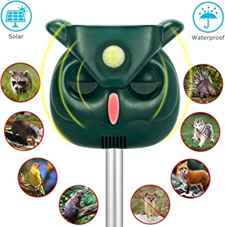 FIERRE SHANN Ultrasonic Animal Repeller with Solar Powered Waterproof Outdoor, Motion Sensor Alarm and Flashing, expelling Raccoons, Rabbits, Birds, Squirrels, Deer, etc. Protect Your Garden.