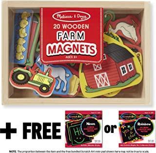 Melissa & Doug Farm Wooden 20 Magnets-in-a-Box Gift Set + FREE Scratch Art Mini-Pad Bundle [92791]