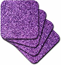 3dRose CST_112889_1 Purple Faux Glitter Photo of Glittery Texture Fashionable Girly Trendy Glam Sparkly Bling Effect Soft Coasters, (Set of 4)