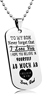 LITTONE Personalized Dog Tag Pendant to My Son Never Forget That I Love You Necklace from Dad Military Chains LNH9587#