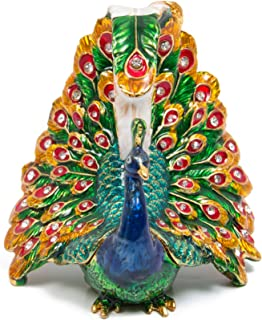 QIFU-Hand Painted Enameled Peacock Decorative Hinged Jewelry Trinket Box Unique Gift for Home Decor