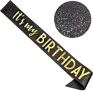 "CORRURE""It's My Birthday"" Glitter Sash for Women - Black Glitter Sash with Metallic Gold Foil - Birthday Sash for 18th 21s..."