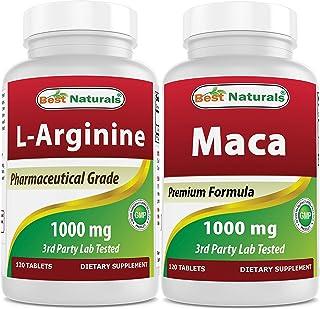 Best Naturals L-Arginine 1000 mg & Maca 1000 mg (120 Count Each Combo)