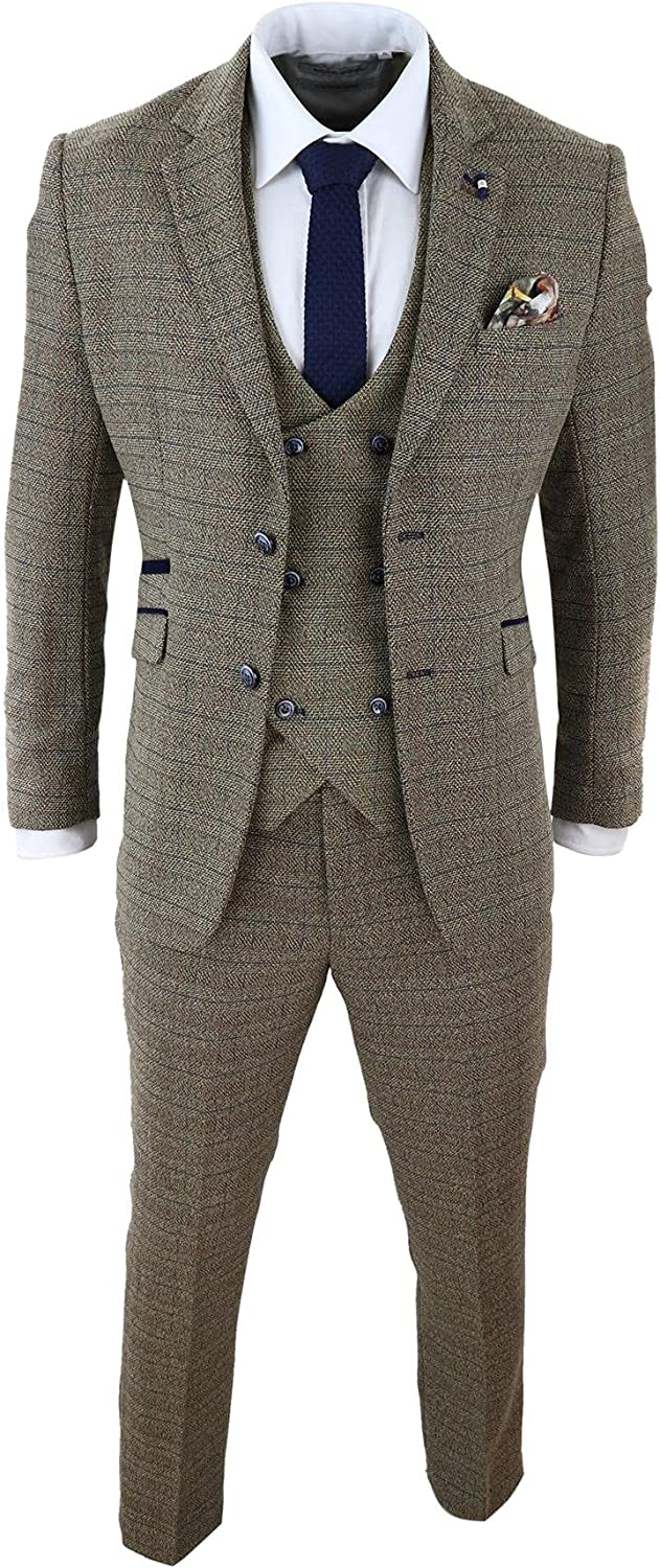 Mens 3 Piece Oak Brown Tweed Check Double Breasted 1920s Vintage Suit