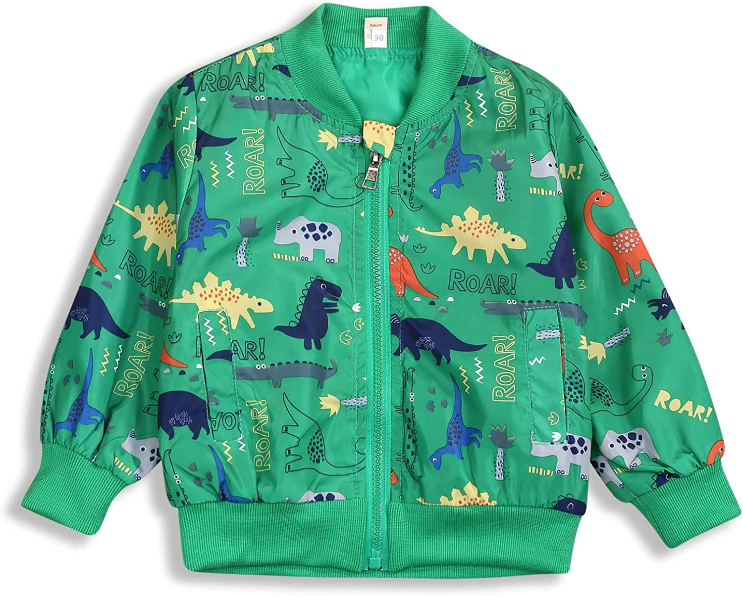Toddler Baby Boy Clothes Long Sleeve Dinosaur Jacket Zipper Coat Windproof Casual Outfits