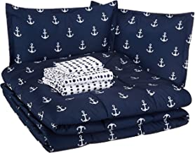 AmazonBasics Easy-Wash Microfiber Kid's Bed-in-a-Bag Bedding Set - Full or Queen, White Anchors