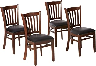 Flash Furniture 4 Pack HERCULES Series Vertical Slat Back Mahogany Wood Restaurant Chair..