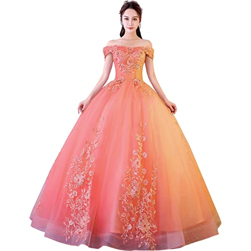 f111480cffb20 Okaybrial Women's Sweet 16 Quinceanera Dresses Blush Pink Off Shoulder Lace  Long Prom Ball Gowns Plus