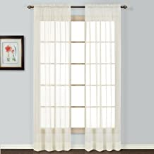 United Curtain Batiste Semi-Sheer Window Curtain Panel, 54 by 45-Inch, Natural