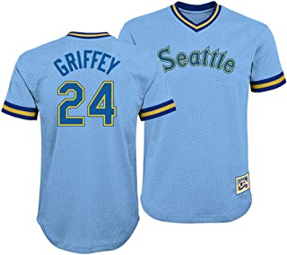 Ken Griffey Jr. Seattle Mariners #24 Blue Youth V Neck Mesh Jersey