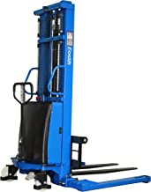 DAZONE Semi-Electric Pallet Straddle Stackers, Powered Lift Trucks Forklifts with Adjustable Forks & Support Legs - 118