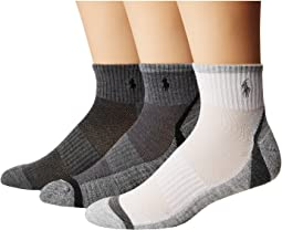 Polo Ralph Lauren - Athletic Feed Stripe Sole Quarter 3-Pack Socks