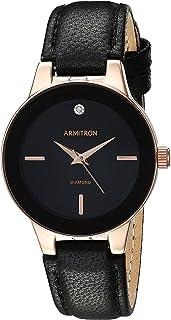 Armitron 75/5410 - Reloj de pulsera para mujer con correa de piel acentuada con diamantes