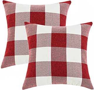 Anickal Set of 2 Christmas Red and White Buffalo Check Plaid Throw Pillow Covers Farmhouse Decorative Square Pillow Covers 16x16 Inches for Farmhouse Home Decor