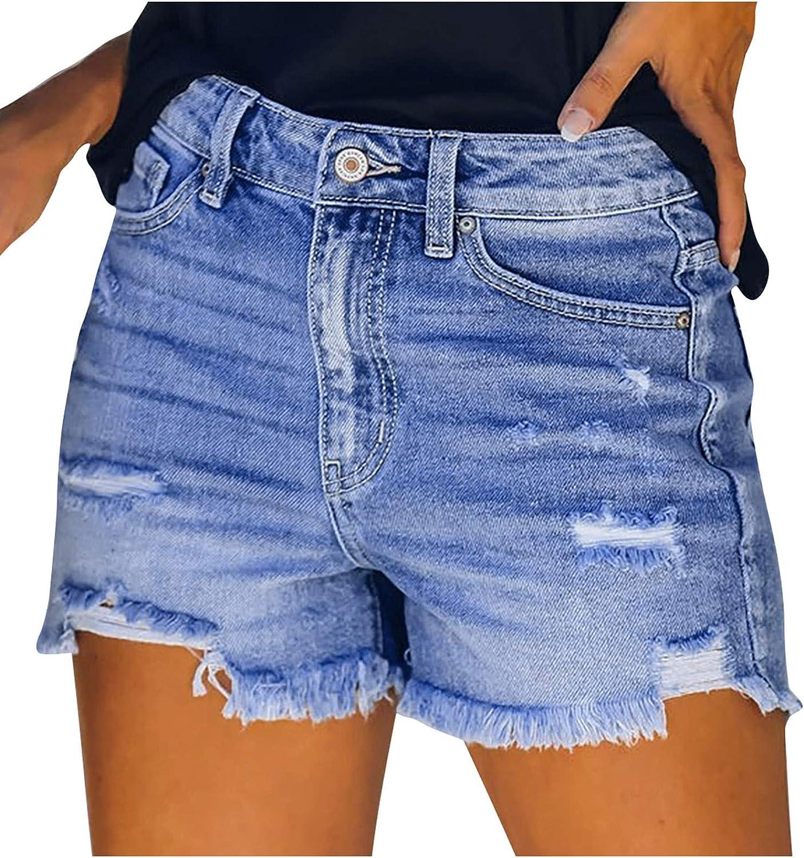 Womens Denim Jeans Shorts Hot Pants, Button High Waist Pockets Trendy Distressed Holes Joggers Short Pant
