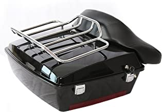 Black Motorcycle Large Pack Trunk for Harley Davidson Touring Electra Glide Road King with Backrest w/top rack