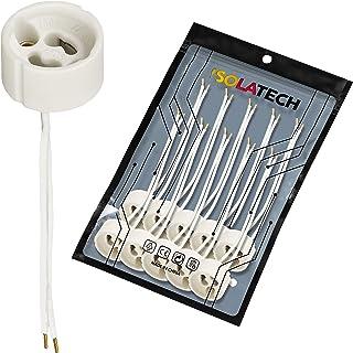 Lampbaser GU10-uttag. Keramiska lamphållare med krusade trådändhylsor för LED- och halogenlampor VDE RoHS 230-250 volt 2A ...