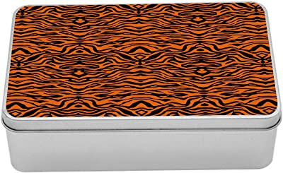 """Ambesonne Safari Tin Box, Illustration of Tiger Skin Pattern Tropical Jungle Elements Continued, Portable Rectangle Metal Organizer Storage Box with Lid, 7.2"""" X 4.7"""" X 2.2"""", Orange and Charcoal Grey"""