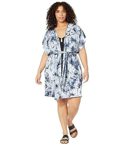 BECCA by Rebecca Virtue Plus Size Tide Pool Tie-Dye Kimono Cover-Up (Navy) Women