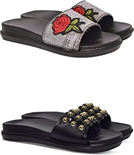 BEONZA Black Combo Pack of 2 Pairs of Flip Flop/Slides/Slippers/Sliders for Women & Girls