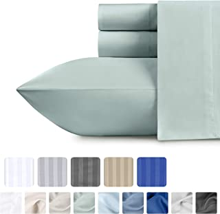 Queen Size Cotton Sateen Sheets - Silver Sage 4 Piece Bed Set, 100% Pure Cotton 500 Thread Count Bed Sheets, Solid Color Fade Resistant Bedding, Deep Pocket Fits Mattress upto 18 Inches