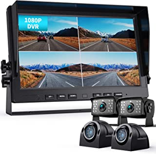 "$399 » Fookoo Ⅱ 10"" 1080P Wired Backup Camera System Kit,10"" HD Quad Split Screen Monitor with Recording IP69 Waterproof Rear Vie..."