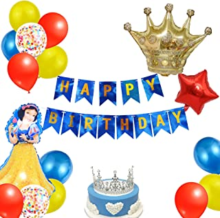 KARAQY Princess Blancanieves Girl Birthday Party Decoration Supplies, Glitter Letter Banner Colorful Balloon Backdrop for ...
