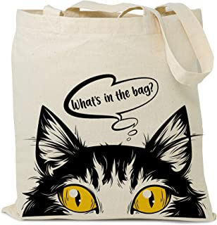Reusable Grocery Cotton Tote Bag, Reusable Shopping Bag - Cat Lover Canvas Tote Bag