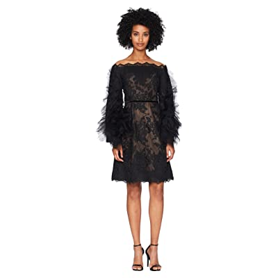 Marchesa Off the Shoulder Corded Lace Cocktail w/ Tulle Sleeves (Black) Women