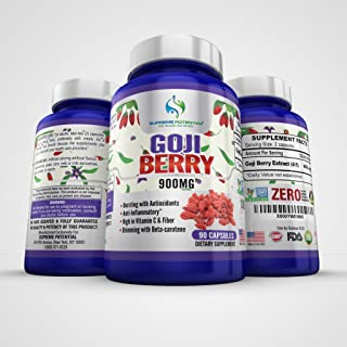 Supreme Potential Goji Berry Antioxidant Boost, High in Vitamin C and Fiber - 900mg - 90 Capsules - 45 Day Supply - Manufactured in USA (1)